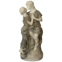 Early 20th Century French Alabaster of a Kissing Couple