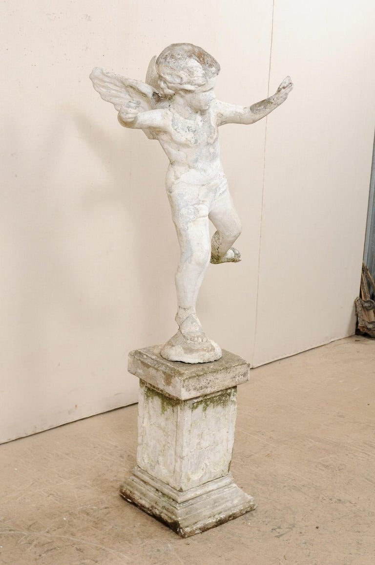 Early 20th Century French Antique Cupid Garden Statue For Sale 7