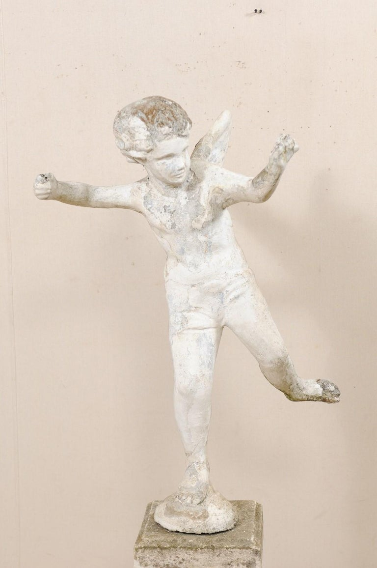 Early 20th Century French Antique Cupid Garden Statue In Good Condition For Sale In Atlanta, GA