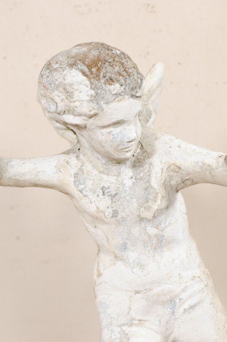 Early 20th Century French Antique Cupid Garden Statue For Sale 1
