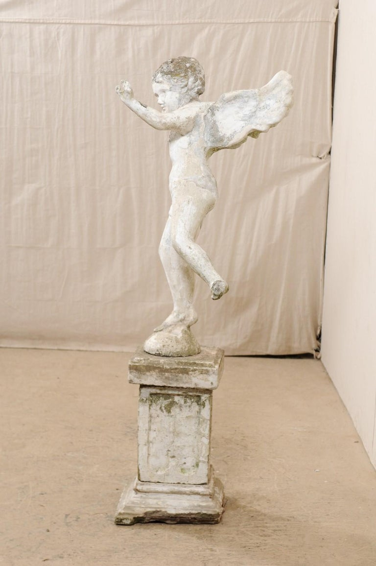 Early 20th Century French Antique Cupid Garden Statue For Sale 2