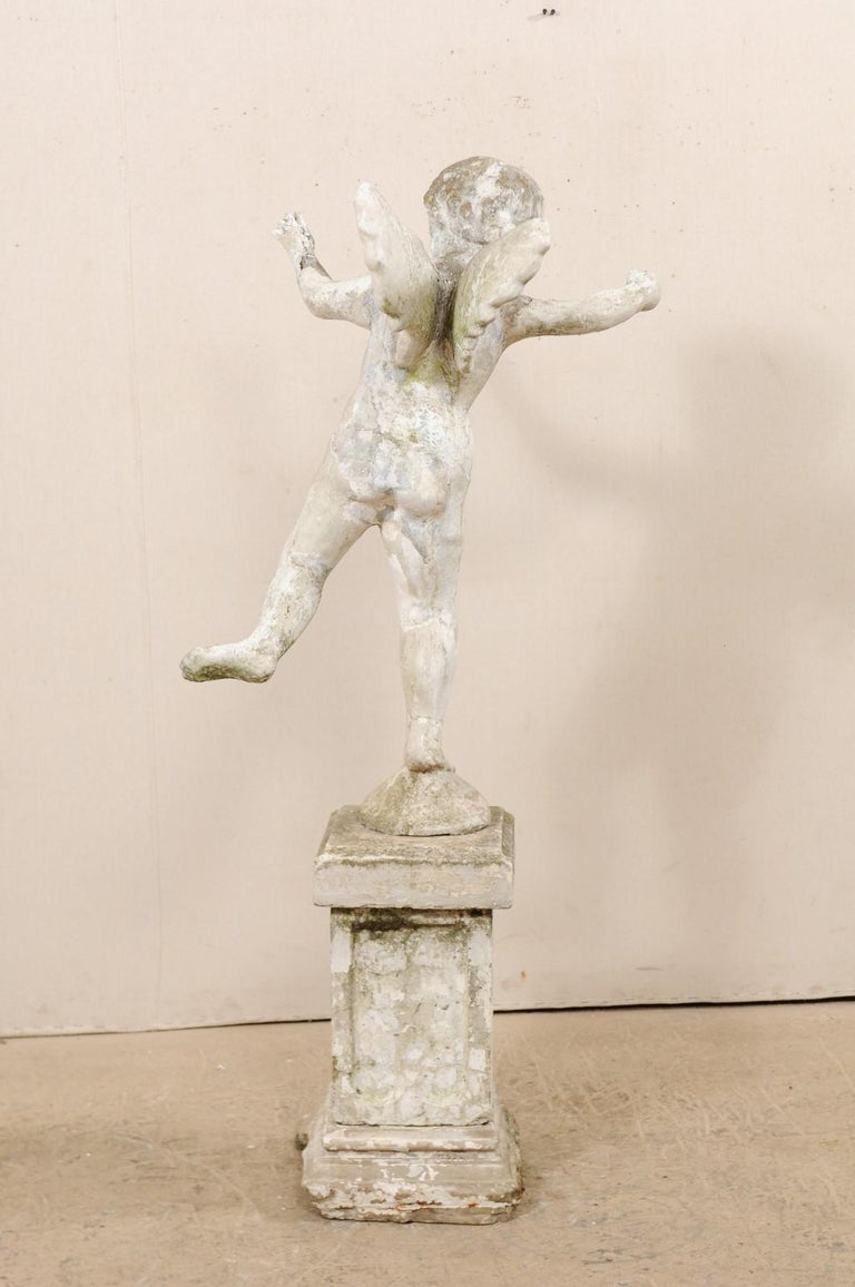 Early 20th Century French Antique Cupid Garden Statue For Sale 5