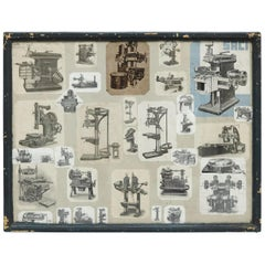 Early 20th Century French Antique Machines Collage Composition