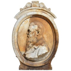 Early 20th Century French Architecture Relief Marble Carving of Jules Verne
