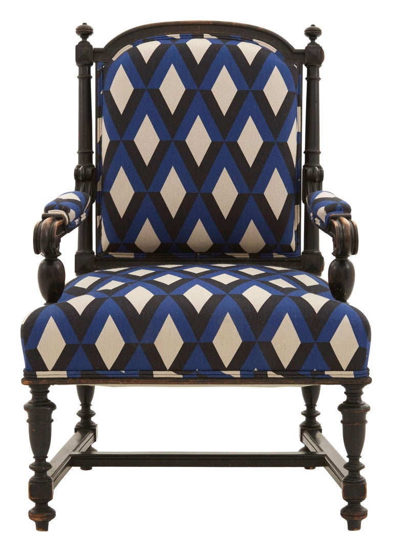 • Reupholstered in Gaston y Daniela Prati Azul linen • Patinaed wood frame • Early 20th century • France  Dimensions • 27.25