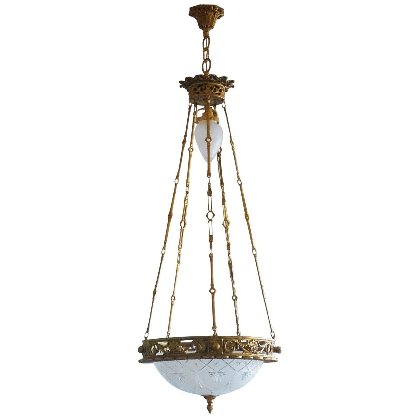 Early 20th Century French Art Deco Bronze Satin Cut Glass Chandelier