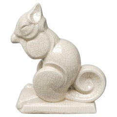 Early 20th Century French Art Deco Craquelé or Crackle Ceramic Squirrel A.M.C