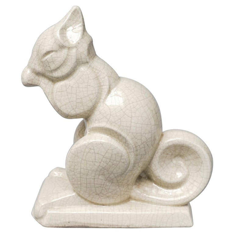 Early 20th Century French Art Deco Craquelé or Crackle Ceramic Squirrel A.M.C For Sale