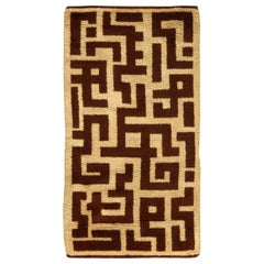 Early 20th Century French Art Deco Decorative Brown and Beige Handmade Wool Rug