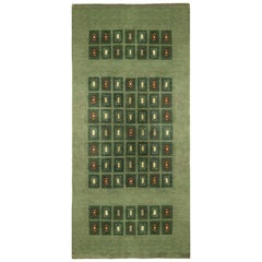 Early 20th Century French Art Deco Green, Cream and Red Handmade Wool Rug