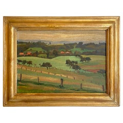 Early 20th Century French Art Deco Landscape Oil Painting Frame, circa 1930