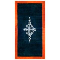Early 20th Century French Art Deco Midnight Blue and Orange Handmade Wool Rug