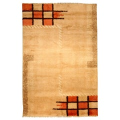 Early 20th Century French Art Deco Orange, Beige and Brown Handmade Wool Rug