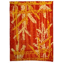 Early 20th Century French Art Deco Orange, Red and White Wool Rug