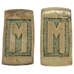 Early 20th Century French Art Deco Period Bronze Door Pulls Marked M