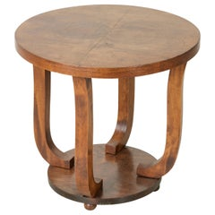 Early 20th Century French Art Deco Period Burl Walnut Guéridon or Side Table