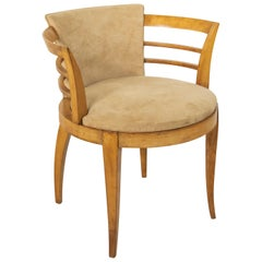 Early 20th Century French Art Deco Period Lemon Wood Armchair or Bergère