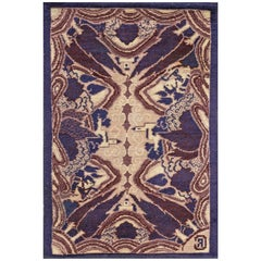 Early 20th Century French Art Deco Abstract Purple Wool Rug