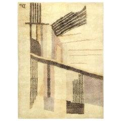 Early 20th Century French Art Deco Beige Handmade Wool Rug