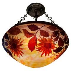 Early 20th Century French Art Nouveau Daum Nancy Sunflower Chandelier