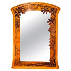 Early 20th Century French Art Nouveau Marquetry Wall Mirror by, Louis Majorelle