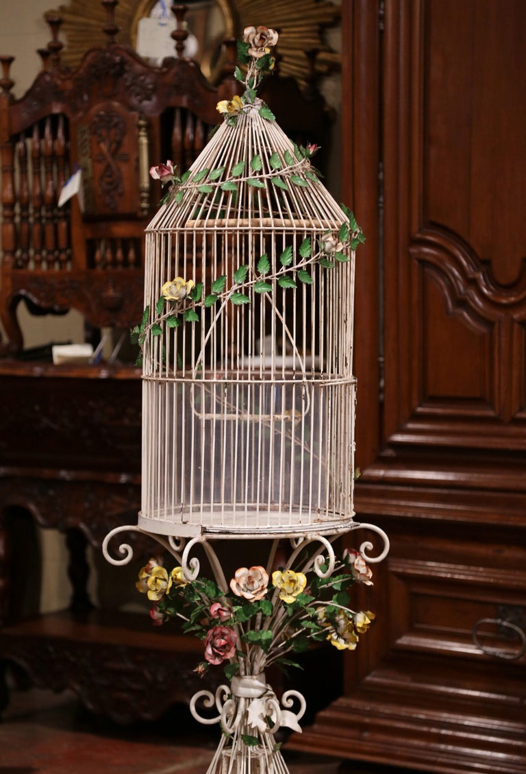 Early 20th Century French Art Nouveau Painted Birdcage On