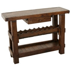 Early 20th Century French Artisan Made Oak Workbench Console with Wine Rack