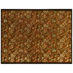 Early 20th Century French Aubusson Brown Handwoven Wool 'Size Adjusted' Rug