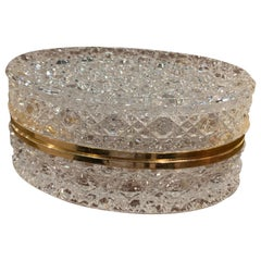 Early 20th Century French Baccarat Cut Glass and Brass Jewelry Box