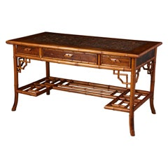 Early 20th Century French Bamboo Desk with Drawers and Leather Top, circa 1920s