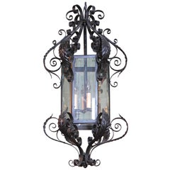 Early 20th Century French Black Iron with Beveled Glass Four-Light Lantern