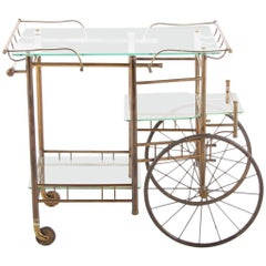 Early 20th Century French Brass and Glass Trolley