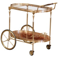 Early 20th Century French Brass and Wood Desert Table or Bar Cart on Wheels