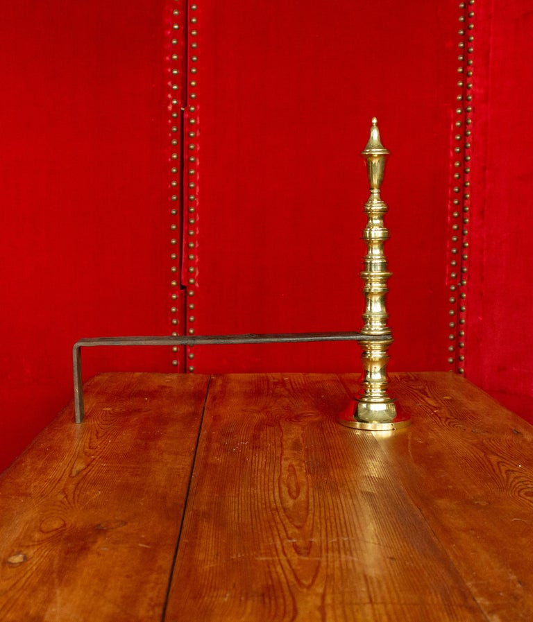 Early 20th Century French Brass Andirons For Sale 4