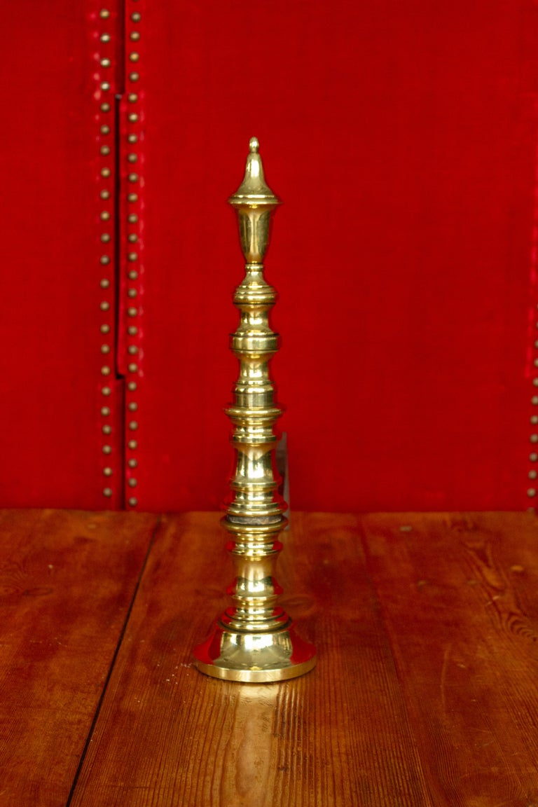 Early 20th Century French Brass Andirons For Sale 5