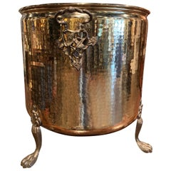 Early 20th Century French Brass Basket or Cache Pot on Paw Feet