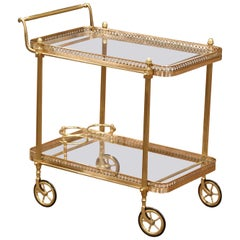 Early 20th Century French Brass Desert Table or Bar Cart on Wheels