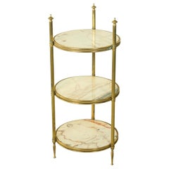 Early 20th Century French Brass Pastry Presentation Server with Marble Shelves