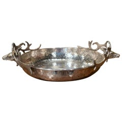 Early 20th Century French Brass Silver Plated Display Bowl with Deer Head Decor