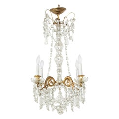 Early 20th Century French Bronze and Crystal Chandelier with Four Lights