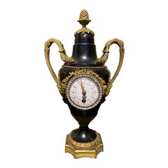 Early 20th Century French Bronze and Tole Diamonte Urn Form Clock, Signed JP