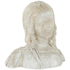 Early 20th Century French Bust of Renaissance Woman Stamped Atelier Louvre