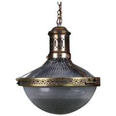 Early 20th Century French Caged Brass & Prismatic Glass Holophane Pendant Light