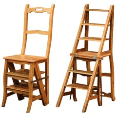 Early 20th Century French Carved Beech Folding Ladder Chair from Provence