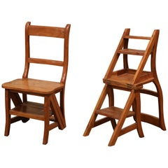 Early 20th Century French Carved Chestnut Chair Folding Step Ladder