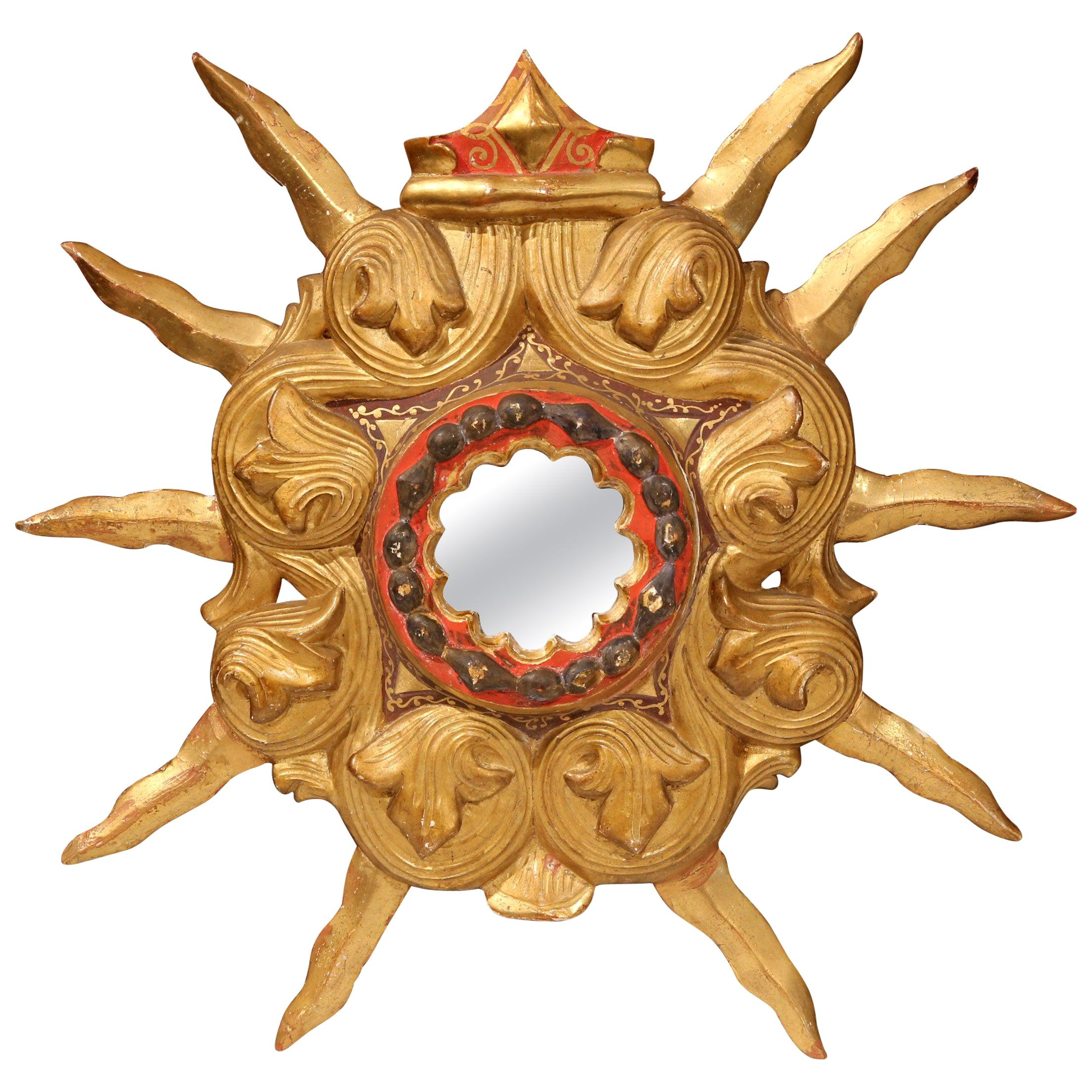 Early 20th Century French Carved Giltwood and Polychrome Sunburst Mirror