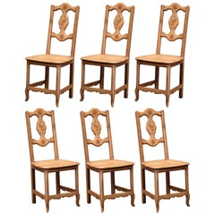 Early 20th Century French Carved Oak Dining Chairs with Vine Motifs, Set of Six