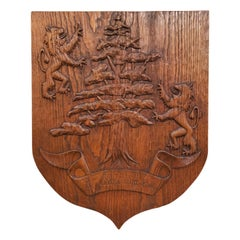 "Early 20th Century French Carved Oak Shield Titled ""Le Cedre aux Lions"""