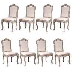 Early 20th Century French Carved Painted Set of Eight Louis XV Dining Chairs