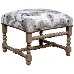 Early 20th Century French Carved Painted Stool with Embroidered Upholstery